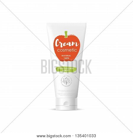 Handmade organic cosmetic brand of cream vector packaging template, body care product. Realistic bottle mock up set, isolated pack on white background.