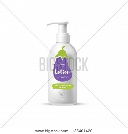 Handmade organic cosmetic brand of lotion vector packaging template, body care product. Realistic bottle mock up set, isolated pack on white background.