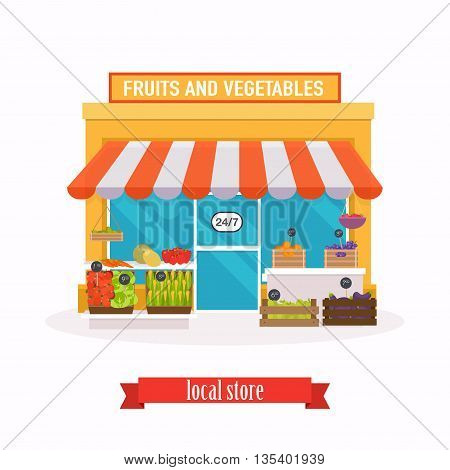 Local market Fruit and vegetables. Farmers market. Flat design modern vector illustration concept.