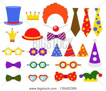 Circus photo booth vector set. Booth mask, birthday element booth, glass and costume, masquerade booth illustration