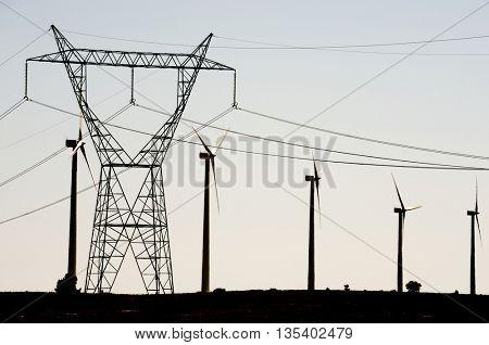 Windmills for electric power production, Burgos Province, Castilla Leon, Spain.
