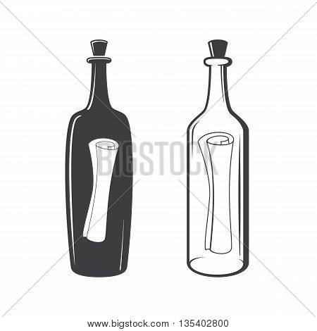 Vector Two Bottles With S.o.s. Message.