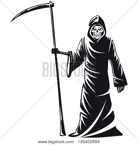 Death sign vector. Death horror, evil scythe death, ghost death  skeleton illustration