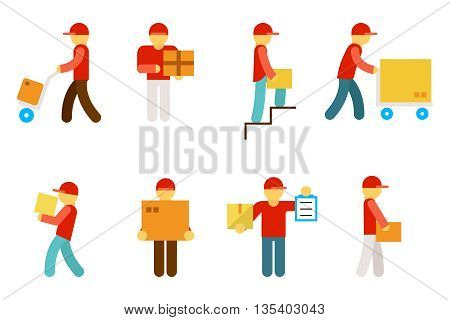Delivery man icons. Delivery box, business delivery service, worker delivery, vector illustration