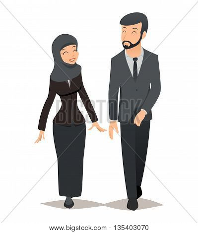 Businessman and businesswoman in traditional Muslim hijab. Business team vector concept. Arab businessman, businesswoman arabian, businessman arabic, saudi businessman and businesswoman illustration