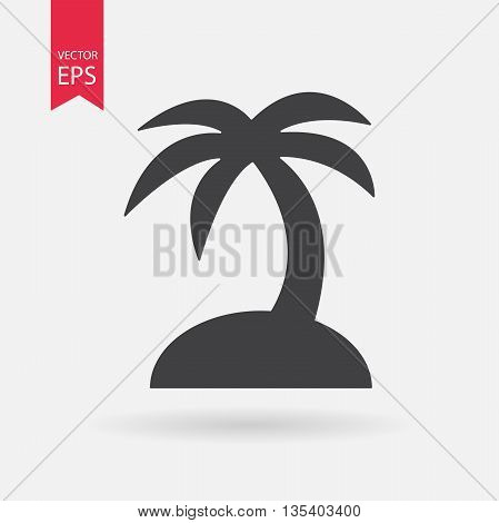 Tropical island icon. Travel trip symbol. Palm Tree sign isolated on white background. Flat design style. Vector illustration