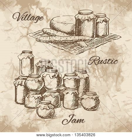 Village sketch with jars of jam cheese and bread on a small tablecloth. Canned pickles on each other. Vector illustration.