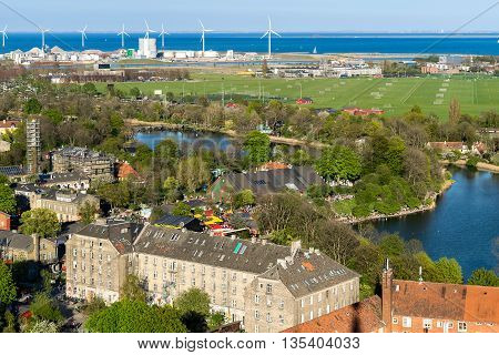 Areal view of Copenhagen, Denmark, with a perspective of a Freetown Christiania, a self-proclaimed autonomous neighborhood, in the borough of Christianshavn in the Danish capital Copenhagen.