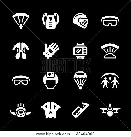 Set icons of parachute isolated on black. Vector illustration