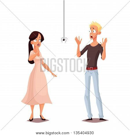 Madly frightened man and woman cartoon comic illustration isolate, boy and girl afraid of a spider, arachnophobia, people are very afraid of spider and panic, manifestation of the phobia