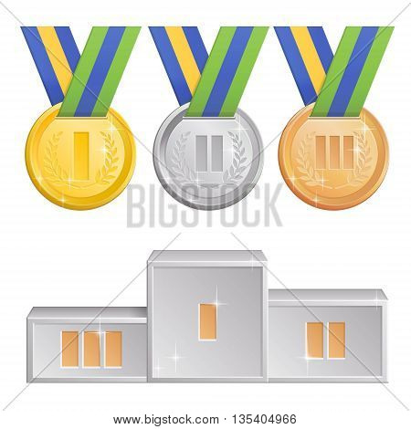 A collection of shining brazil sports competitions themed devoted to sports events in Brazil 2016 gold silver and bronze medals with ribbons and a silver podium for first second and third winners.