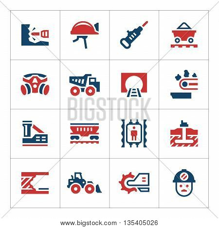 Set color icons of mining isolated on white. Vector illustration