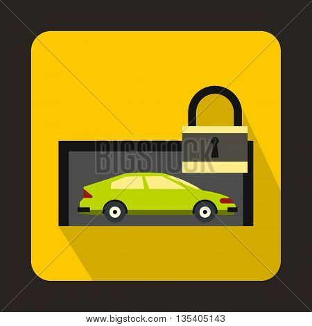 Green car and padlock icon in flat style on a yellow background