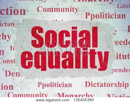 Political concept: Painted red text Social Equality on Digital Data Paper background with   Tag Cloud
