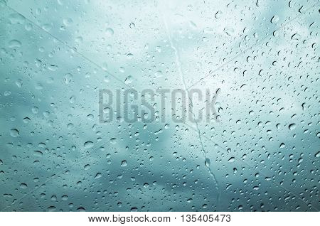 Blue Wet Glass With Droplets, Rainy Background