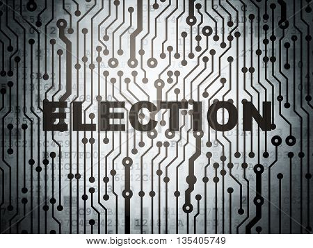 Politics concept: circuit board with  word Election, 3D rendering