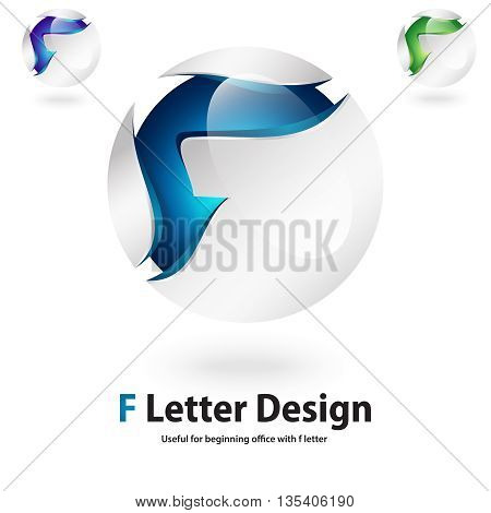 3d f letter logo design 100% vector re editable and resizable suitable for any words which i beginning with letter f