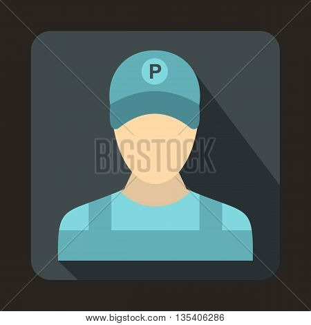 Parking attendant icon in flat style on a gray background