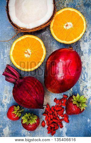 Healthy breakfast food collage. Mango goji berry smoothie recipe