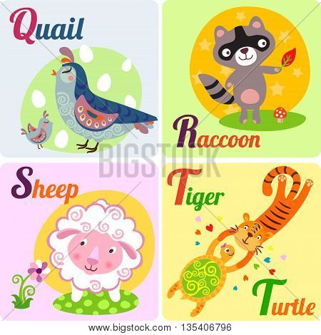 Cute zoo alphabet in vector. Q R S T letters. Funny animals for ABC book. Quail Raccoon Sheep Tiger and Turtle.