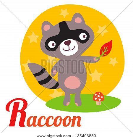 Cute animal alphabet for ABC book. Vector illustration of cartoon raccoon. R letter for the Raccoon