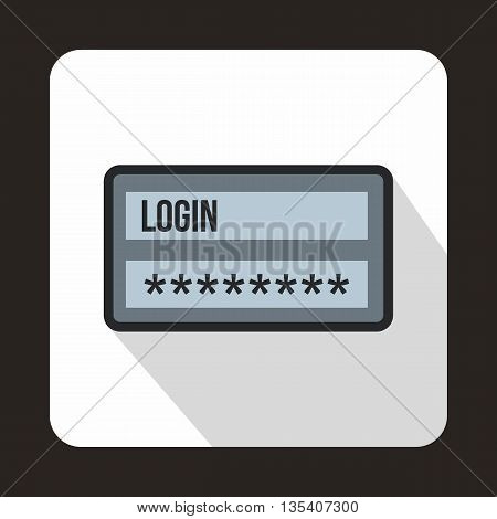 Login and password icon in flat style on a white background