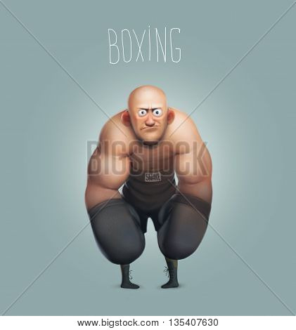 funny cartoon character, boxer, boxing big champion