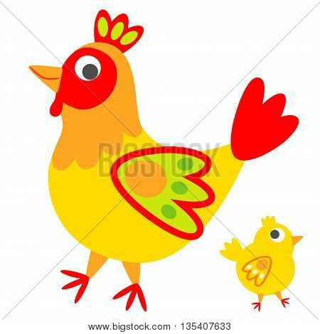 Rooster and a small chicken in one set