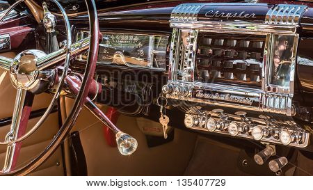 GROSSE POINTE SHORES MI/USA - JUNE 19 2016: A 1948 Chrysler Town & Country dashboard, at the EyesOn Design car show, held at the Edsel and Eleanor Ford House, near Detroit, Michigan.