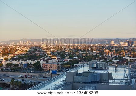 City skyline with afternoon sky in downtown Los Angeles, California