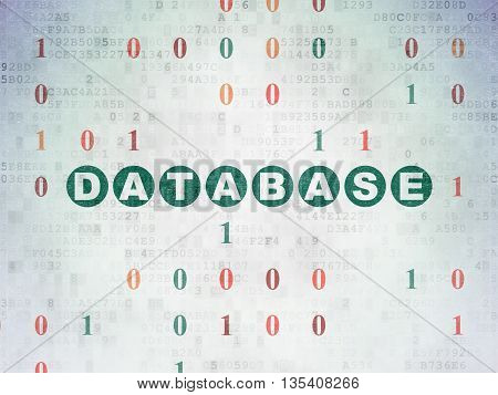 Database concept: Painted green text Database on Digital Data Paper background with Binary Code