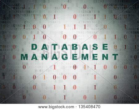 Software concept: Painted green text Database Management on Digital Data Paper background with Binary Code