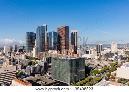 Many skyscrapers in downtown Los Angeles, California