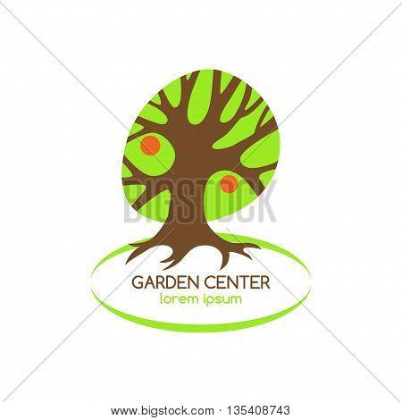 Stylized fruit tree organic symbol. Garden center logo. Vector illustration.