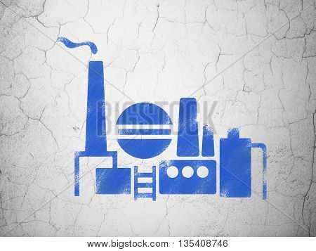 Industry concept: Blue Oil And Gas Indusry on textured concrete wall background