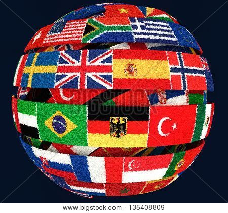 3D illustration of Knit National flags twisted as spiral globe on dark