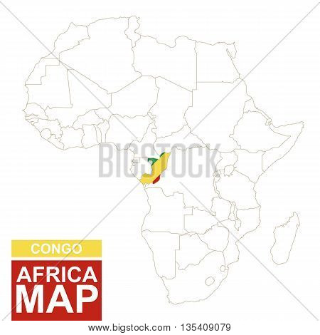 Africa Contoured Map With Highlighted Congo.
