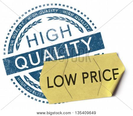 3D illustration of a rubber stamp with the text high quality and a price sticker where it is written low price over white background. Advertising concept.