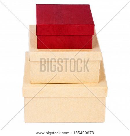 Tower made from cardboard boxes isolated on a white background