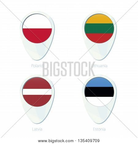 Poland, Lithuania, Latvia, Estonia Flag Location Map Pin Icon.