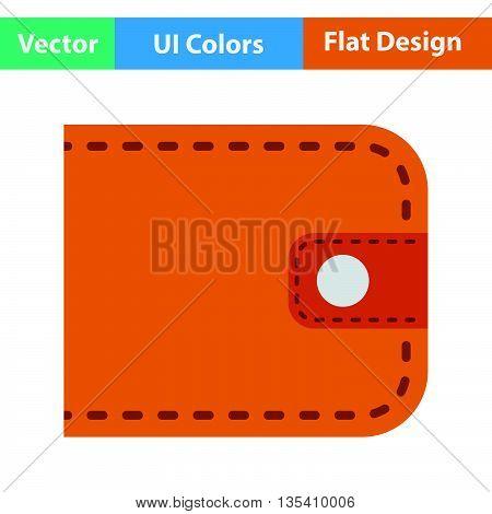 Wallet icon. Flat  color design. Vector illustration.