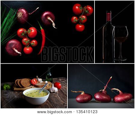 Set. Fresh Vegetables, wine and other foodstuffs. dark background