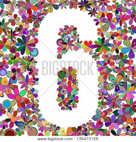 Vector number six made of colorful flowers.