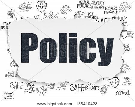 Insurance concept: Painted black text Policy on Torn Paper background with  Hand Drawn Insurance Icons