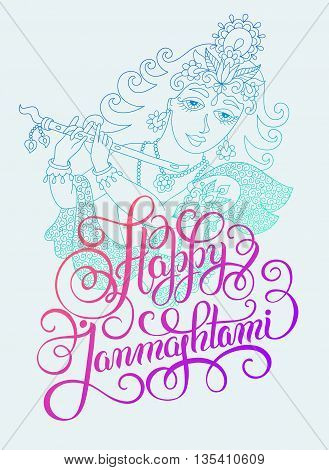 god lord Krishna with hand lettering inscription happy janmashtmi for indian festival, vector illustration eps 10