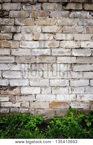 White brick wall with green grass architecture background