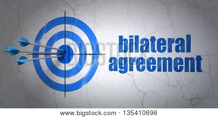 Success Insurance concept: arrows hitting the center of target, Blue Bilateral Agreement on wall background, 3D rendering