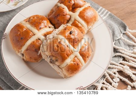 Hot Cross Buns traditionally eaten hot or toasted during Lent