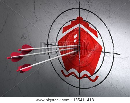 Success tourism concept: arrows hitting the center of Red Ship target on wall background, 3D rendering