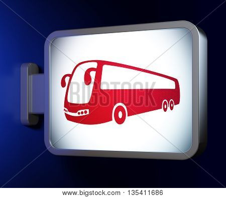 Tourism concept: Bus on advertising billboard background, 3D rendering